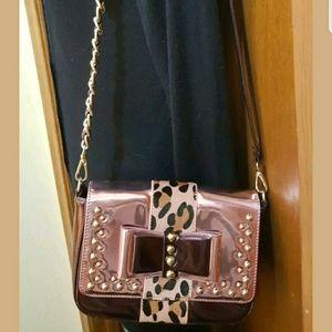 Sharif mauve leather convertible cross body purse